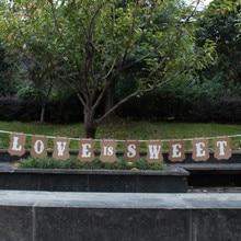 """Винтаж """"Love Is Sweet"""" флаги Свадебный венок баннер для фотокабинки вечерние Подставки для фотографий украшения события поставок"""