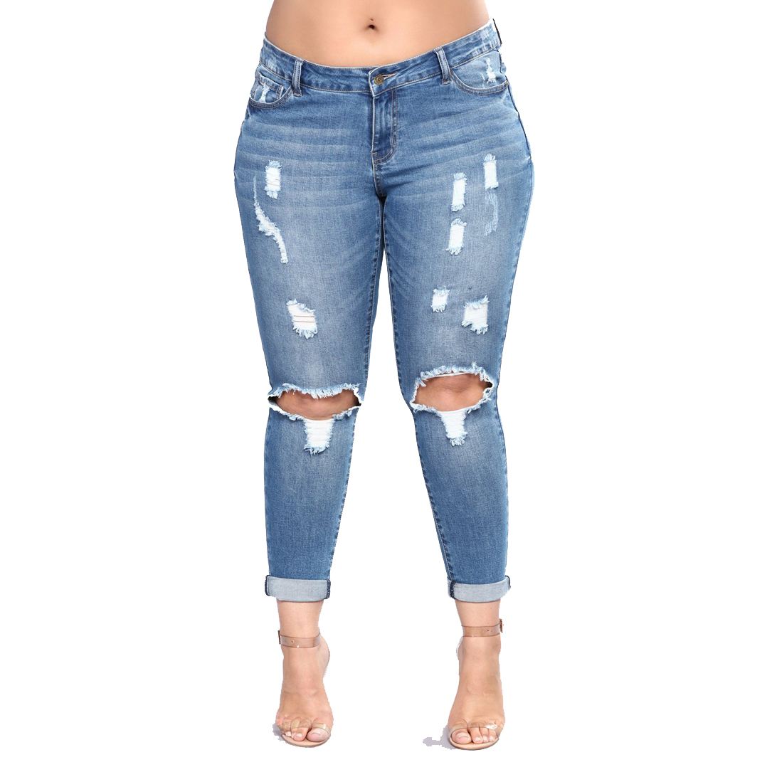 plue size 2XL-7XL Women High Waist Skinny Pencil Pants Blue Denim Woman Zipper Stretch Washed Women