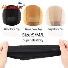 AliLeader Cheap Elastic Mesh Dome Wig Cap for Making Human Hair Wigs Brown Beige Black Spandex Net Glueless Hairnets Wig Liner недорого