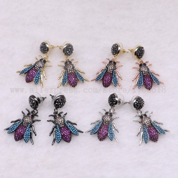 3 Pairs Fly bugs earrings Bee earrings with studs Gift for lady insect earrings colorful jewelry Earrings 3074 фото