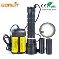 BORUIT Brand 100m Waterproof Torch Light White Light Lantern Scuba Diving Light 3x XM L2 LED