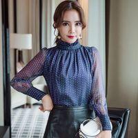 Chiffon Blouse Dot Print Shirts 2018 Spring Summer Long Sleeve Stand Collar Tops Woman Elegant Office