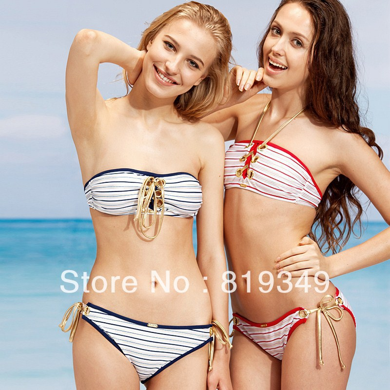 VANCL Sexy Striped Bandeau Bikini Set Women Swimsuit Two-Piece Swimwear With Lace-Up Design Red Stripe/Navy Stripe FREE SHIPPING