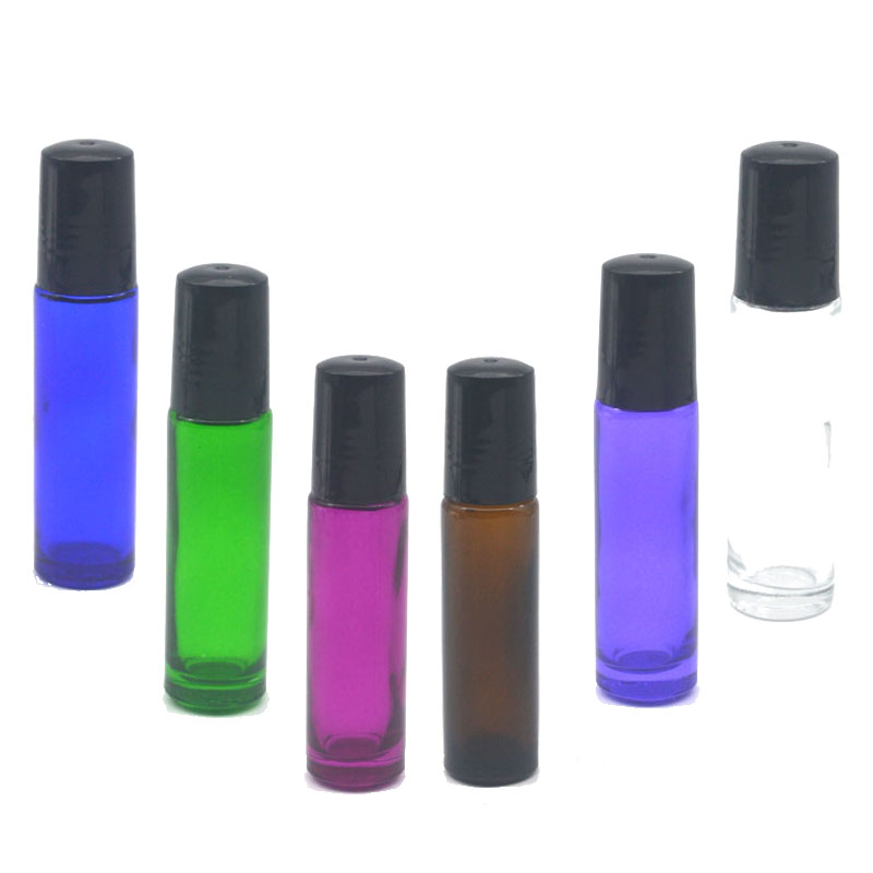 1pcs Empty 10ml Roller Glass Bottle Fragrance Perfume Essential Oil Colorful Bottle Roll-On Black Plastic Cap