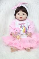 55cm Full Body Silicone Reborn Baby Girl Toy 22inch Newborn Baby Princess Toddler Doll With Unicorn Dress Kids Birthday Gift