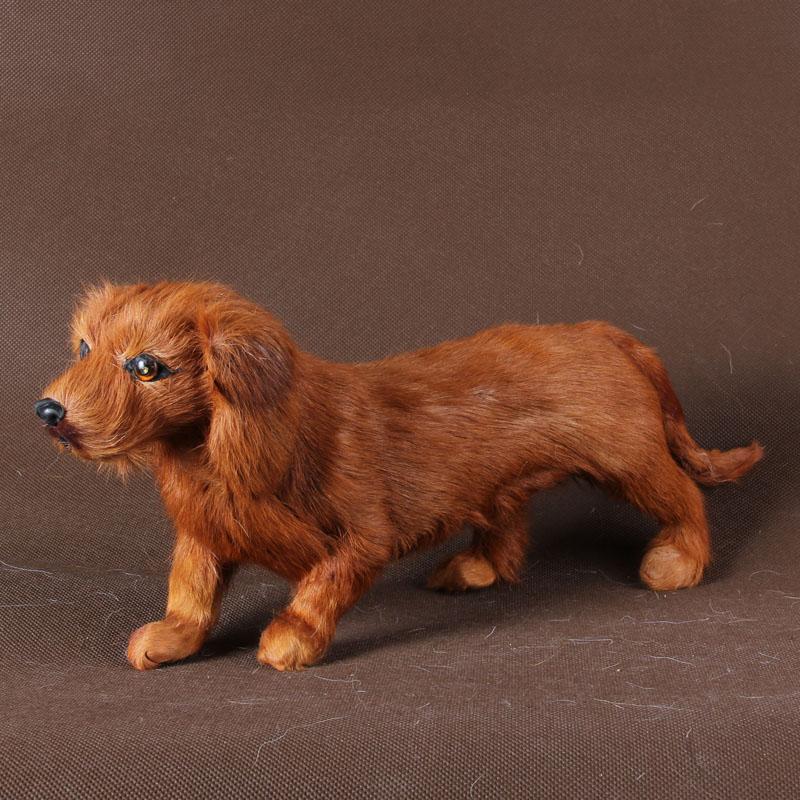 simulation dog brown dog model 35x14cm polyethylene furs toy prop home decoration Xmas gift c879