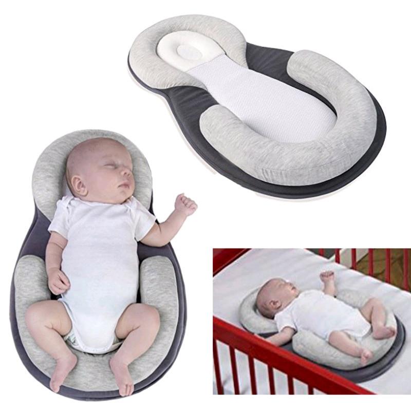 Multifunction Baby Crib Travel Sleep Pillow Newborn Anti-rollover Safety Cushion Baby Sleep Positioning Pad Portable Folding Bed