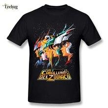 Stylish Man Saint Seiya Knights of the Zodiac T Shirt Pure Cotton Retro Camiseta