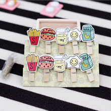 10 pcs/pack French fries burger Wooden Clip Photo Craft DIY Clips with Hemp Rope  Clothespin Craft Decoration Clips Pegs 30pcs box cute fox chicken wooden clip photo paper clothespin craft clips party decoration clip with hemp rope