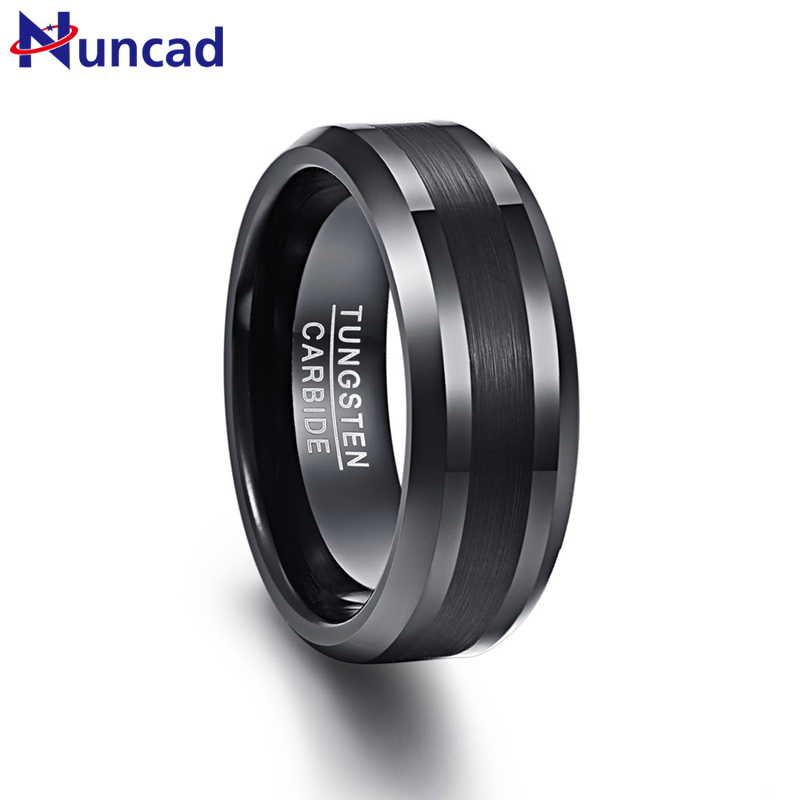 Nuncad 8mm Mens Black Brushed Center Beveled Edge Tungsten Carbide Wedding Band Annivers ...