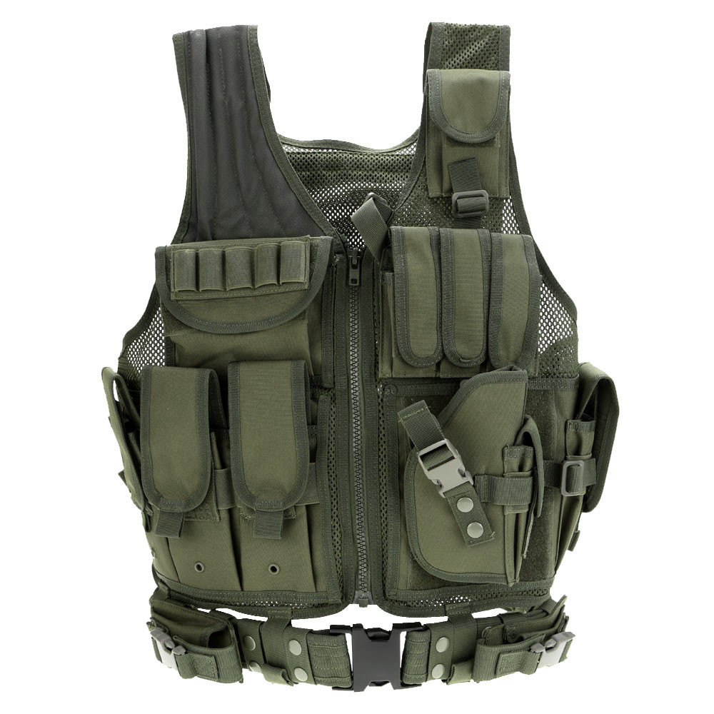 Men Tactical Vest Outdoor Military Combat Army Polyester Airsoft Paintball War Game Camouflage Hunting Vest for Camping Hiking