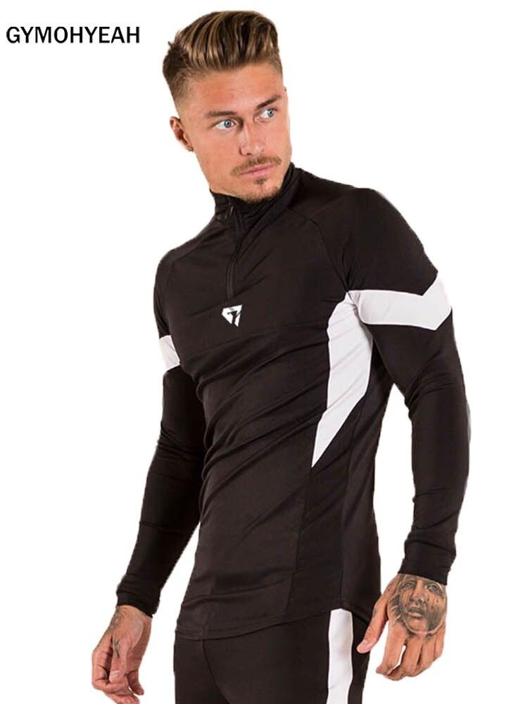 New Compress Quick-drying Elasticity Sporting T-shirt Men Long Sleeve Fitness T Shirt Men's Gyms Splicing Bodybuilding T-shirt