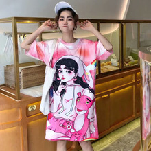 Thailand Tide brand 2019 summer new cartoon printing short-sleeved large size loose casual long T-shirt female