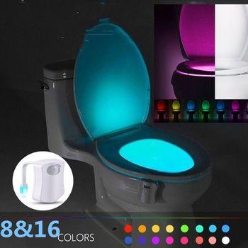 8 Color Smart PIR Motion Sensor Toilet Seat Night Light Waterproof Backlight For Toilet Bowl LED Lamp Toilet Light For Kid vasos sanitários coloridos