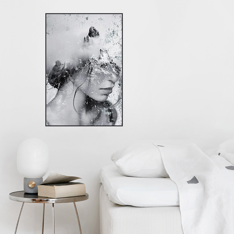 Black Impression Beauty Woman Prints and Posters Abstract Landscape Wall Pictures Modern Home Decor for Living Room Bedroom