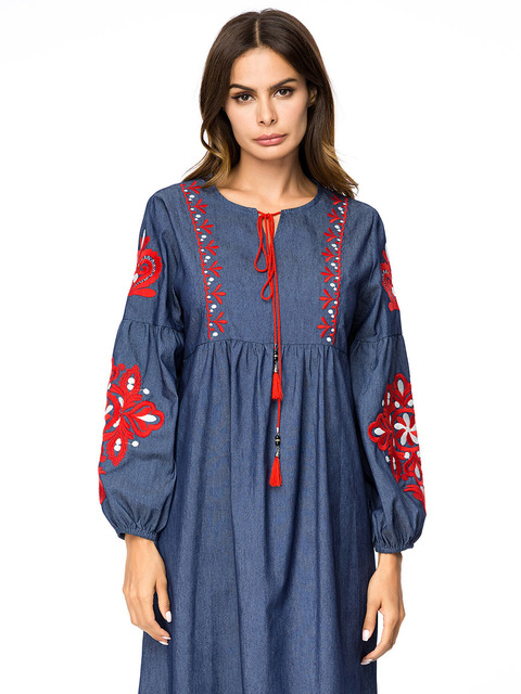 Women full sleeve embroidery dark blue Indonesia clothing 4XL kaftans 3