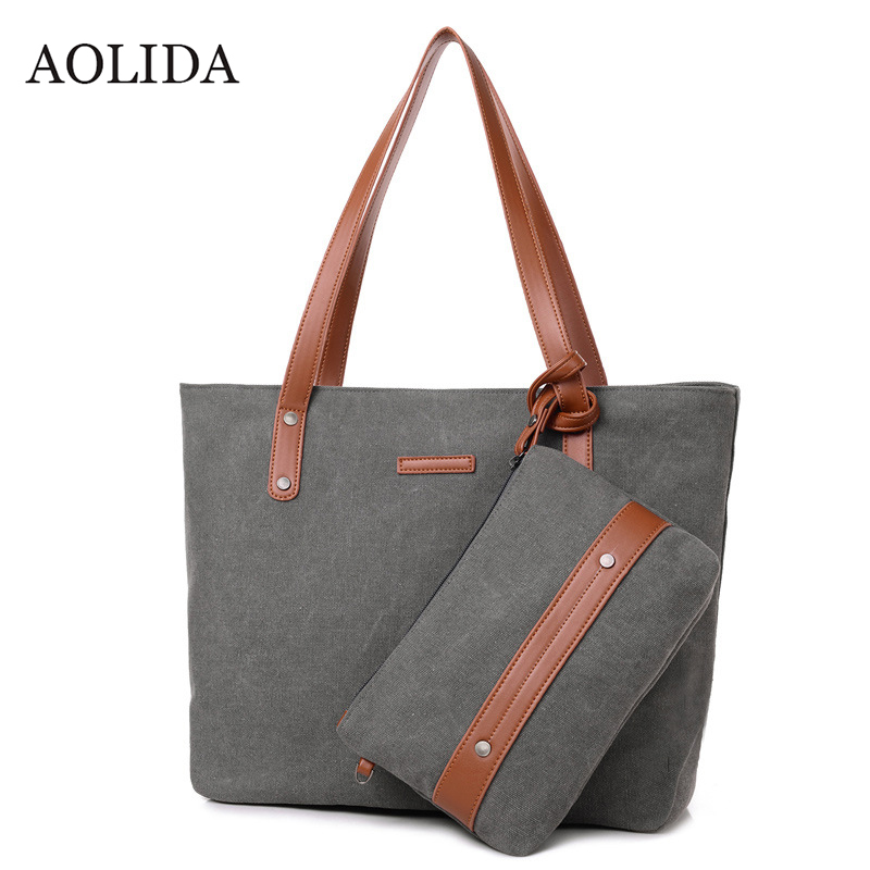 AOLIDA Big Canvas Ladies Shoulder Bags Women Casual Large Tote Bag Fashion Sac A Main Women'S Handbags With Zipper 2017 Vintage squirrel fashion large canvas shoulder bags patchwork vogue pattern brand casual vintage big color block panel women s handbags