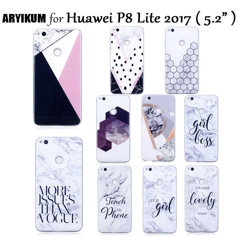 ARYIKUM Silicone Case For Coque etui Huawei P8 P 8 Lite 2017 P8Lite 2017 Case Marble Cover For Hawei Huawey P8 Lite 2017 Fundas