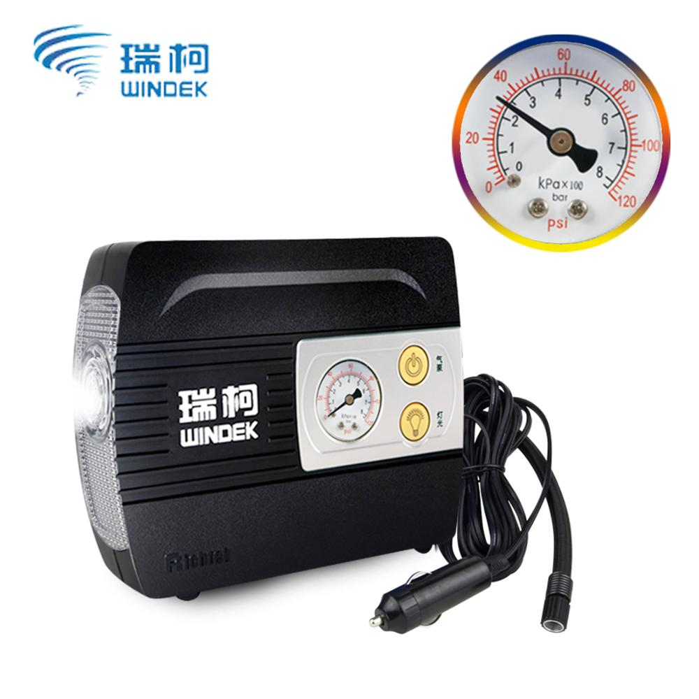 WINDEK Tire Inflator DC 12 Volt Car Portable Air Compressor Pump Auto 100 PSI Car Air Compressor For Car Motorcycles Bicycles car auto dc 12v 300 psi electric pump air compressor tire inflator black