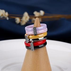 Image 3 - Обручальное кольцо из нержавеющей стали, двухслойное керамическое кольцо розового, фиолетового и красного цвета, ювелирные изделия для женщин, аксессуары