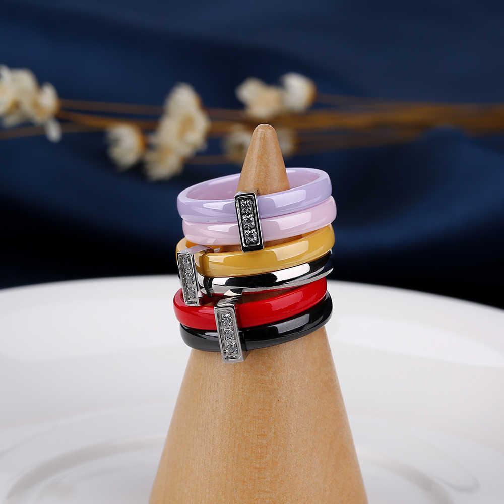 الفولاذ المقاوم للصدأ خاتم الخطوبة خاتم طبقتين الوردي الأرجواني الأحمر زوجين خواتم سيراميك مجوهرات الأزياء النساء اكسسوارات Anillos