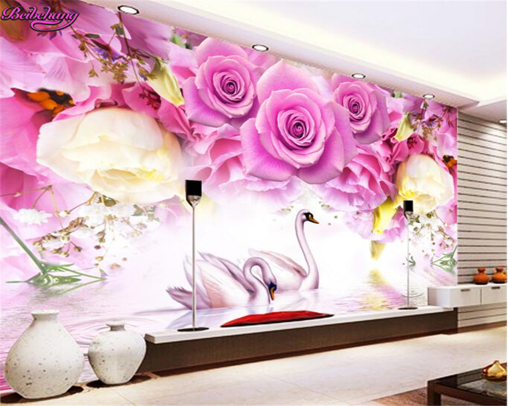 papel tapiz para paredes beibehang d moda superior grande wallpaper purple rose cisne moda tv