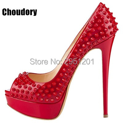 Brand Summer Pumps Shoes Woman Sexy Rivets High Heels Peep Toe Platform Shoes Red Party Wedding Ladies Shoes Plus Size 35-42