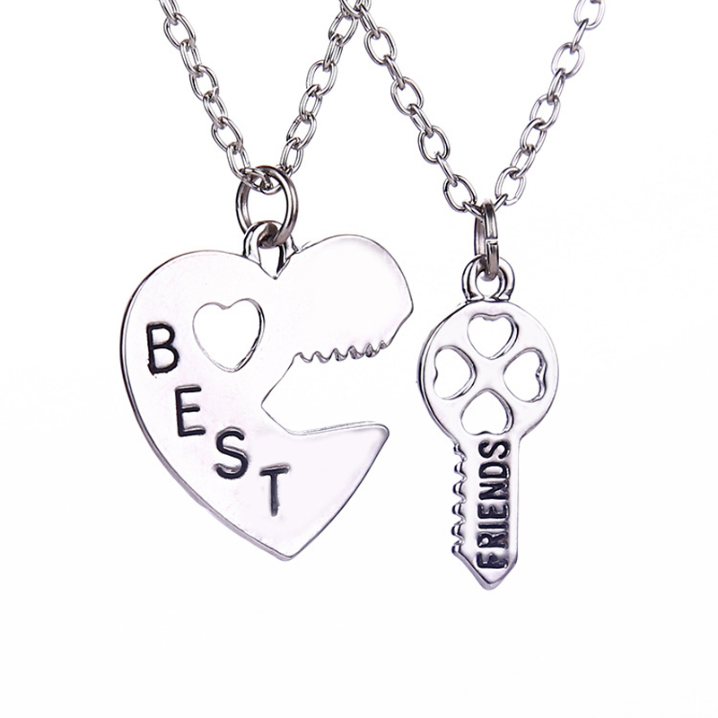 Two Piece Charm Heart Shape Puzzle Best Friend Forever BBF Key To Your heart Pendant Necklace Friendship Gift Fashion Jewelry image