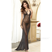 2017 Black Sexy Long Dress Europe And The United States Flash Net Yarn Fish Beauty Sling