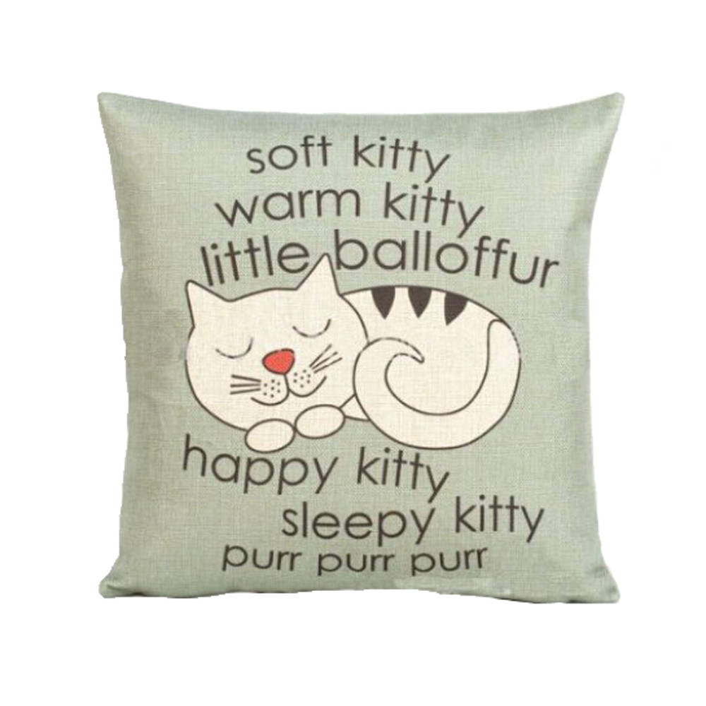 Image 2 - Cute kitten printing Pillow Cover Cartoon style 45cm*45cm Sofa Waist Throw Cushion Cover Hand Made Home Decoration-in Cushion Cover from Home & Garden