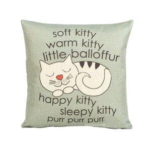 Image 2 - Funda de almohada con estampado de gatito bonito estilo de dibujos animados 45cm * 45cm funda de cojín para cintura de sofá hecha a mano decoración del hogar
