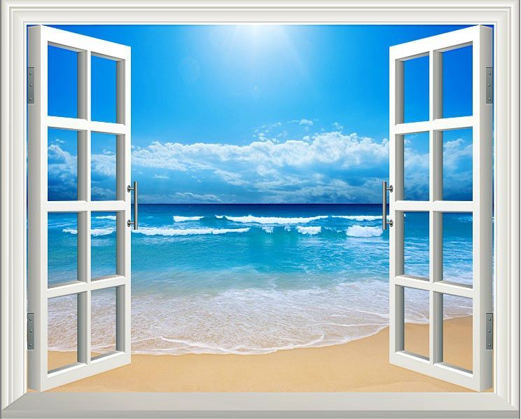 Sunshine Beach 3d Window Decoration View Removable Wall