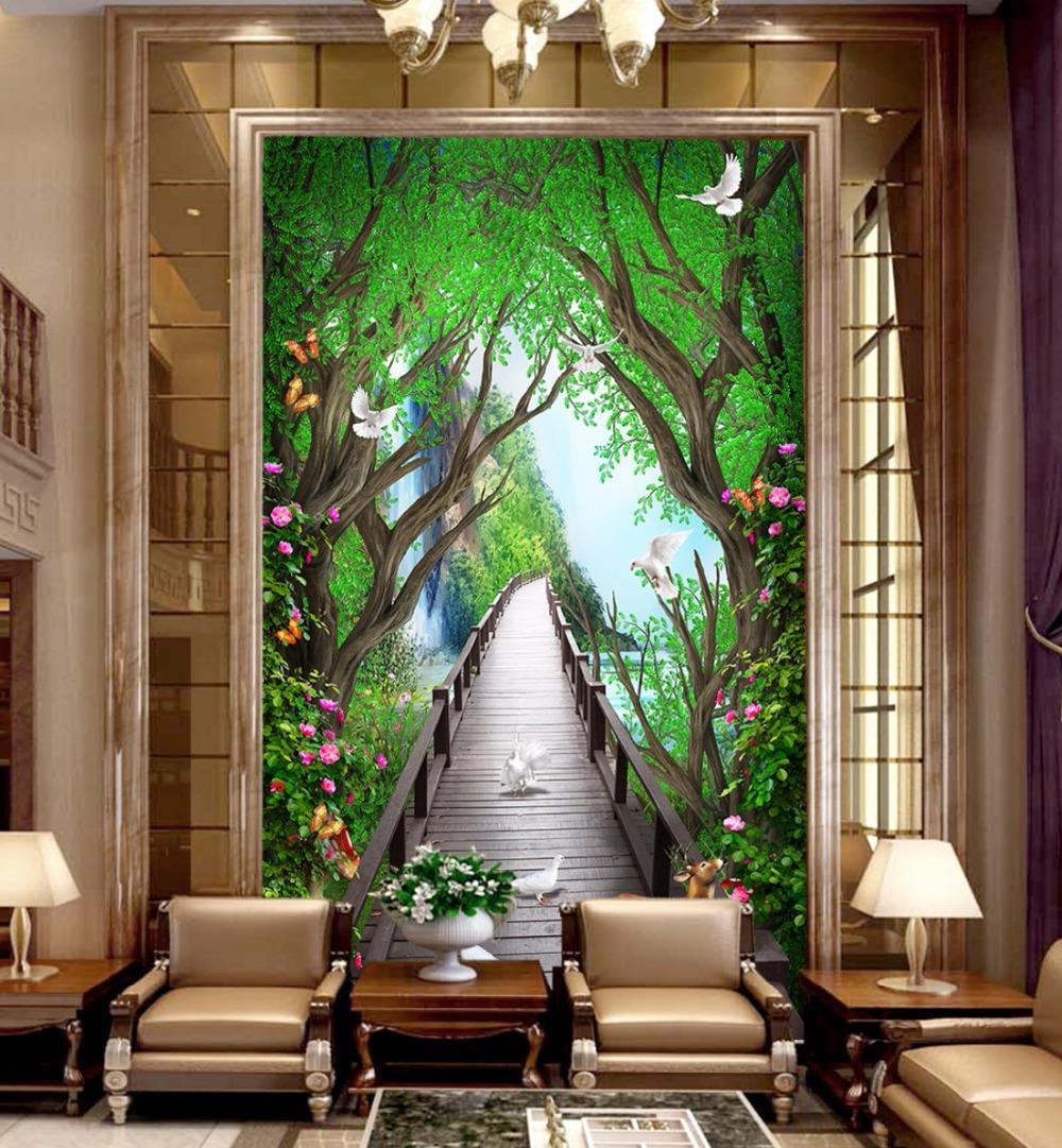 US $8 4 OFF Beibehang Custom Large Wallpapers 3d Beautiful Dream Wood Board Bridge Elk Flower Vine 3D Mystery Background Wall Paper