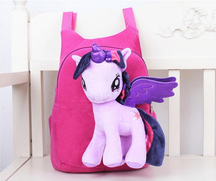 3D Cartoon Pony zaino per le ragazze Dei Capretti sacchetto di Scuola Bambino Zaini Peluche Del Bambino zaino Del Fumetto Per Bambini Satchel Mochila Infantil