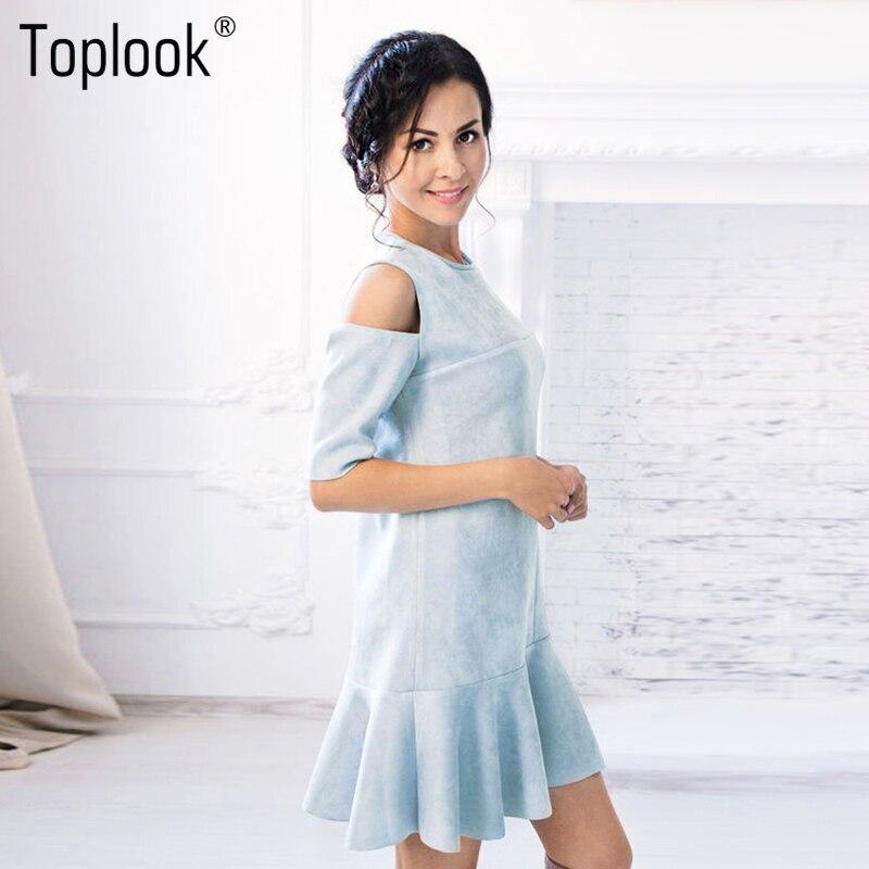 Toplook cold shoulder ruffle dress del verano de gamuza azul de la vendimia de l