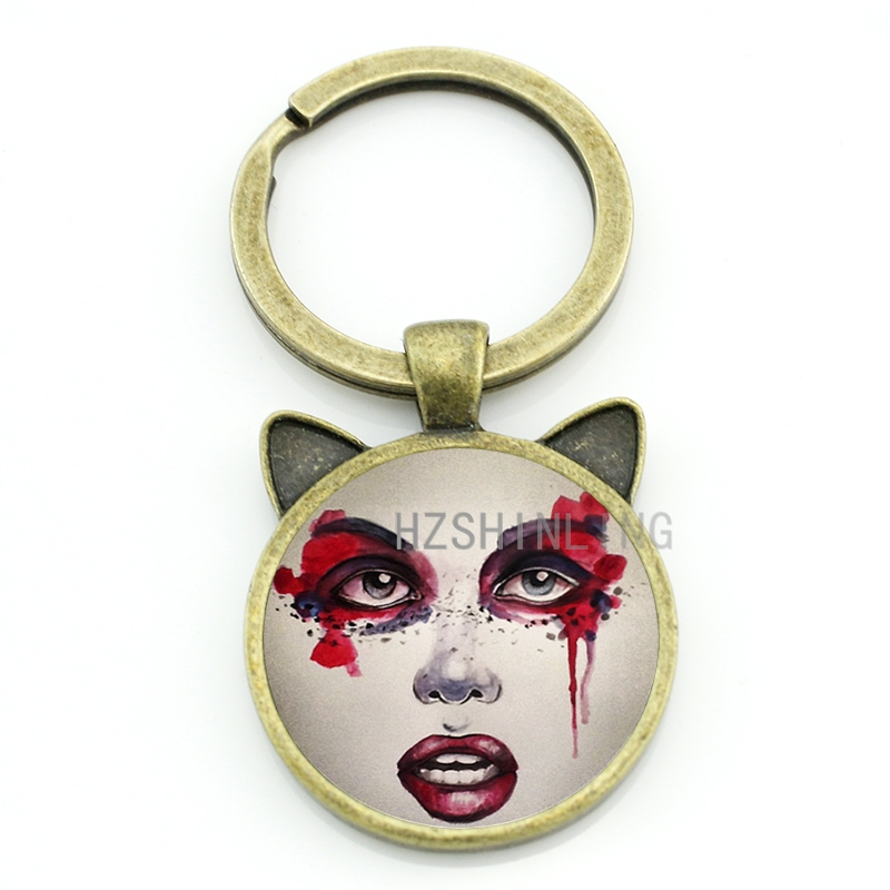Vintage Bloody Makeup Woman keychain cool blood girl face ear animal pendant key chain ring men women fashion jewelry CN271