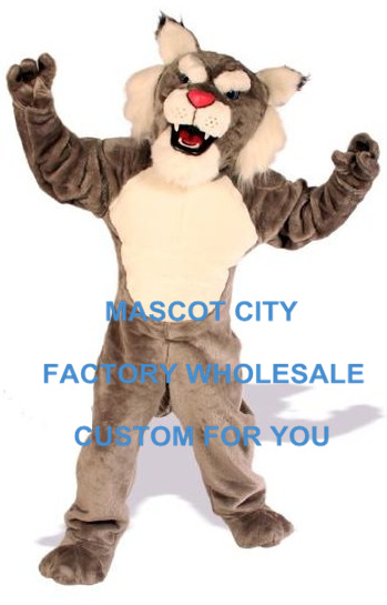 Adult Size Power Cat Wildcat Mascot Costume with Helmet Professional Mascotte Mascota Outfit Suit Party Cosply Costumes SW601