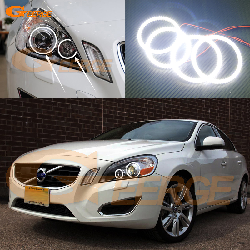 For Volvo S60 V60 2011 2012 2013 XENON HEADLIGHT Excellent Ultra bright illumination smd led Angel Eyes kit halo rings