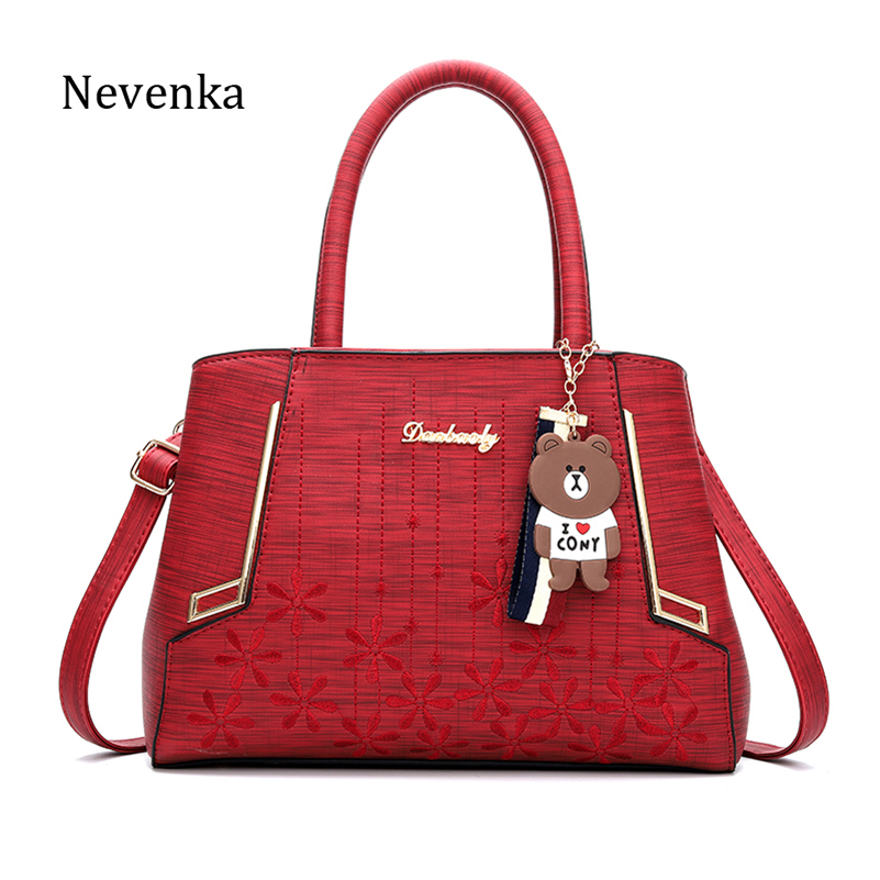 Nevenka Leather Handbag Women Large Capacity Shoulder Bags with a Bear Women Crossbody Bag for Female Casual Totes Handbags 2018