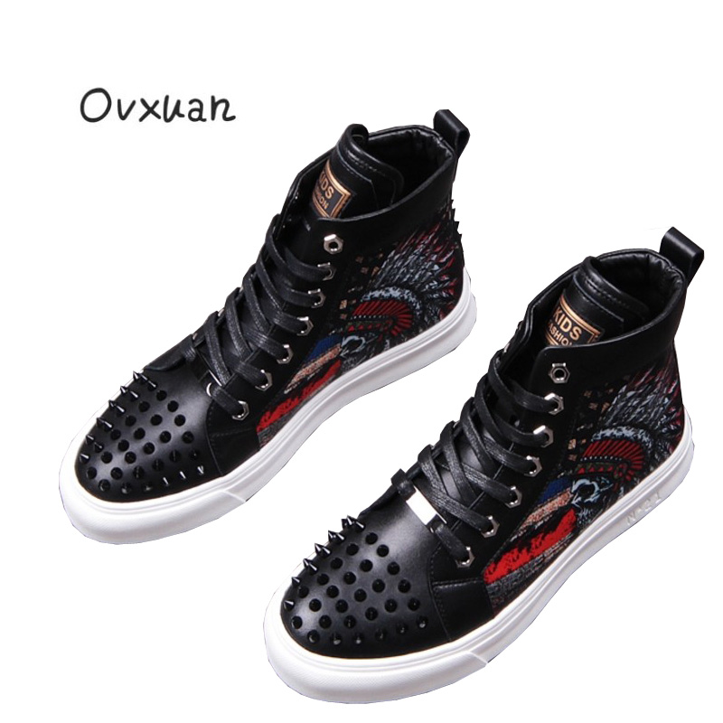 Ovxuan Black Camouflage Printing Skull Men Ankle Shoes Man Flats Rivets Toe Punk Party Men's Dress Shoes Men Motorcycle shoes ovxuan metal skull buckle handmade men ankle shoes punk party dress loafers glitter bright sequins men flats casual rivets shoes