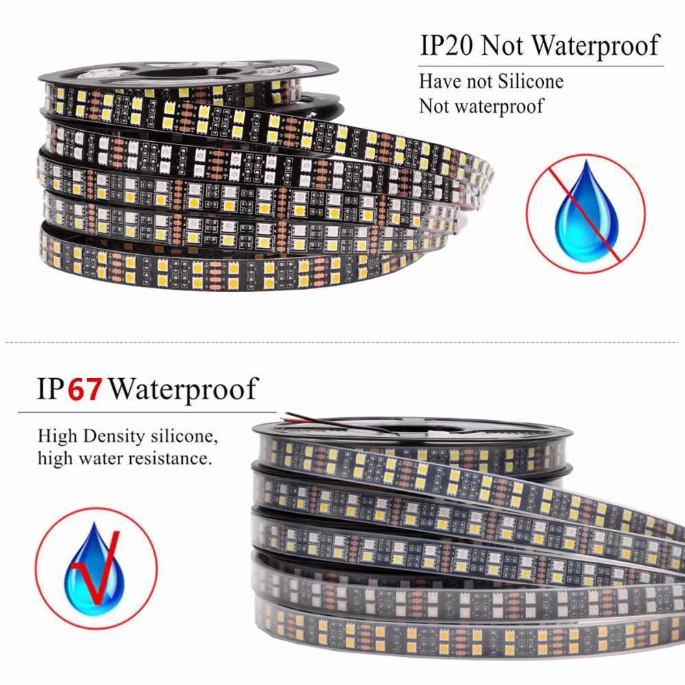 Bande de LED rvb imperméable à l'eau 5050 120LED s/m Double rangée noir PCB cc 12V 24V RGBW RGBWW bande de lumière LED bande de néon Flexible Luz