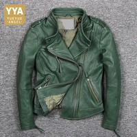Italy 2018 New Green Sheepskin Genuine Leather Jacket Women Motor Windproof Biker Real Leather Coat Zip Punk Jaqueta De Couro