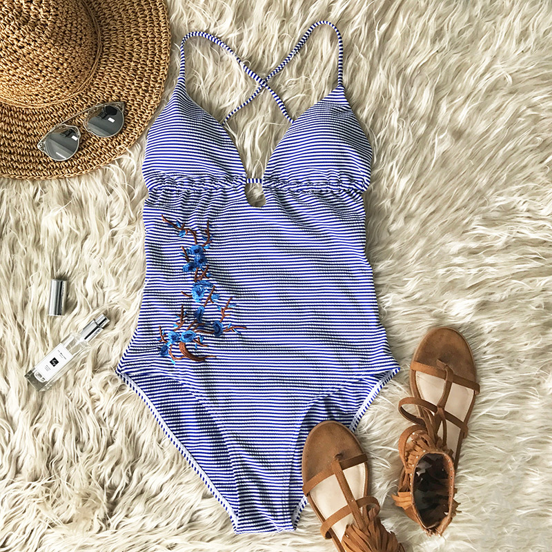 CUPSHE Blue Sky Embroidery Bikini Set Deep V neck Back Lace Up Bikini Set Padded Bathing Suit Swimwear Brazilian Biquini Monokin