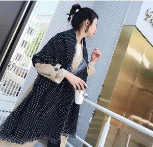 Image 4 - Winter Scarves Women Fashion Black White Polka Dot Pashmina Fringed Brim Shawl Oversized Tippet Ladys Fluffy Cashmere Bufandas