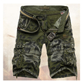 Venta caliente del envío libre ocasionales adelgazan los hombres multi-bolsillo de camuflaje pantalones cortos de los hombres 2 colores 29-36 con cinturón