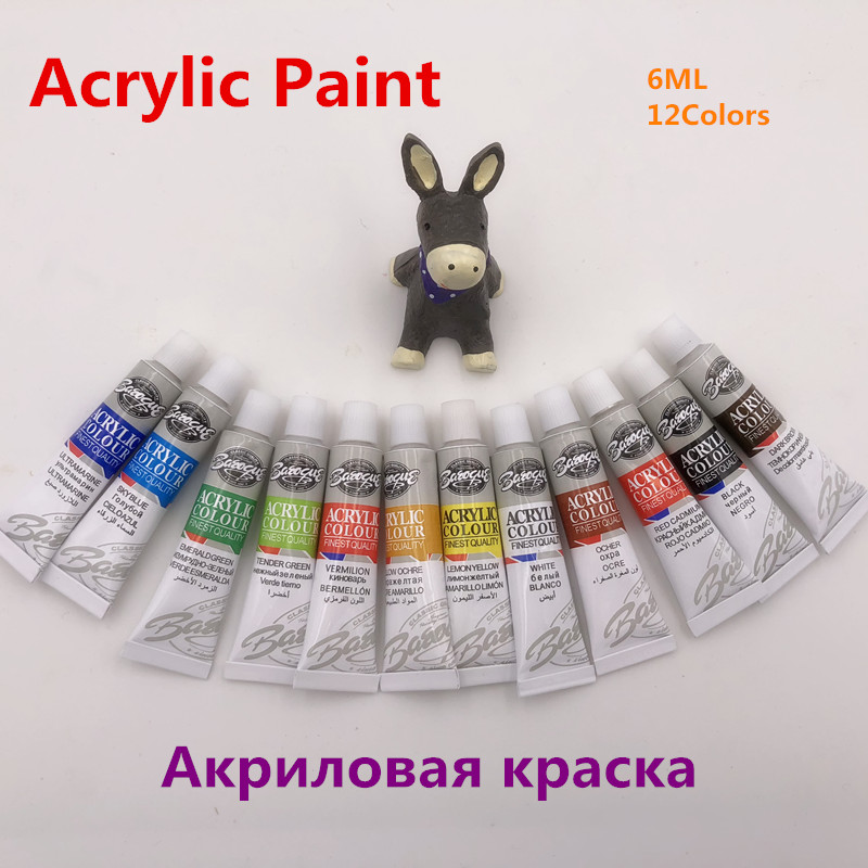 Professional 12 Colors 6ML Acrylic Paints Set Hand Painted Wall Painting Textile Paint Brightly Colored Art Supplies Free Brush