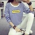 2016New Moda Azul y Blanco a cuadros T-shirt Otoño Añadir Fertilizantes Aumentó Hermana Gorda de Manga larga Ropa de Mujer Vistiendo