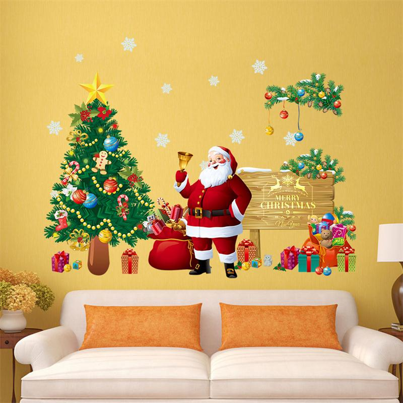 Merry Christmas Wall Stickers Decoration Santa Claus Gifts Tree - Christmas wall decals removable