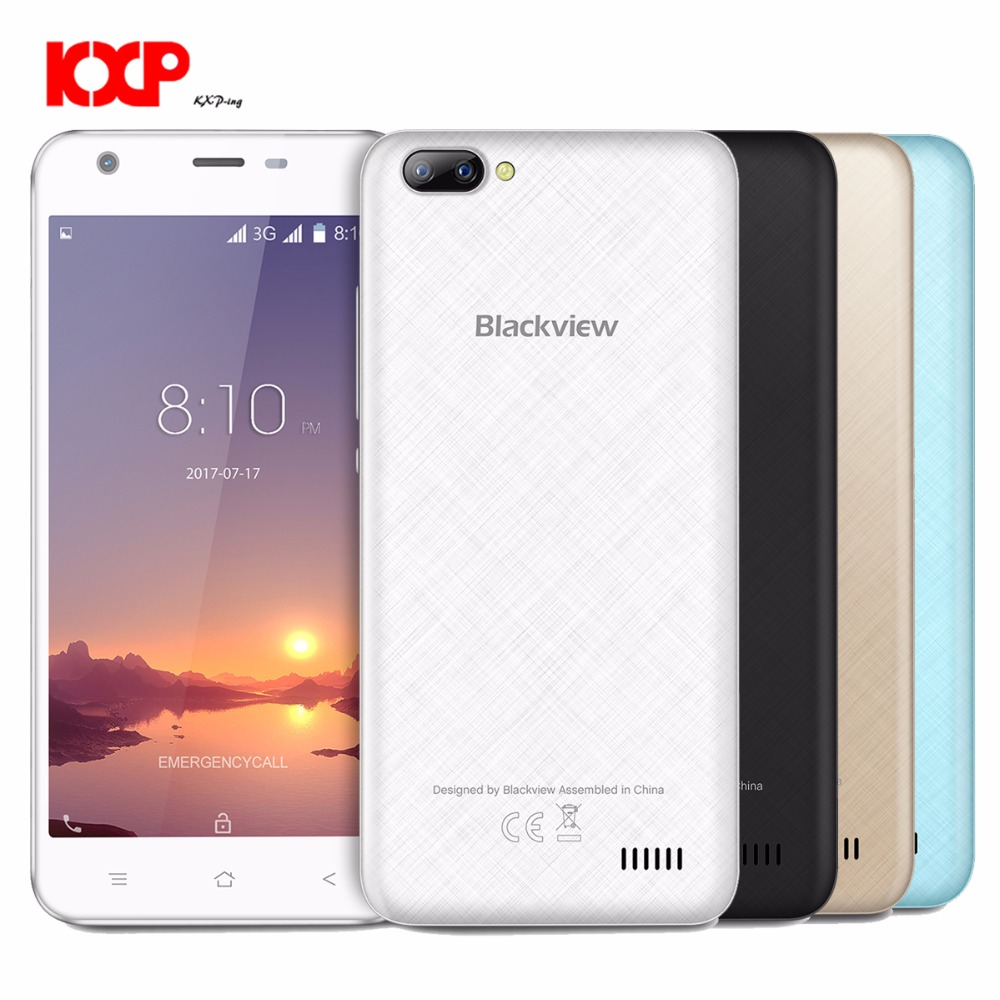 Blackview A7 3G Smartphone Android 7.0 5,0 zoll Ips-bildschirm MTK6580A 1,3 GHz Quad Core 1 GB RAM 8 GB ROM 0.3MP + 5.0MP Dual hinten