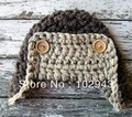 100% Handmade Crochet Knitted Pilot Hat in Brown and Gray Newborn Baby Aviator Caps with earflaps for Christmas Gift
